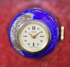 Tudor By Rolex Blue Enamel Guilloche 925 Sterling Silver Case Ball Pendant Watch