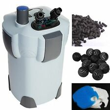 3-STAGE CANISTER FILTER + 9W UV STERILIZER FRESH/SALT AQUARIUM 75 GAL FREE MEDIA