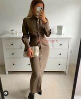 Zara Draped Midi Brown Shirt Dress Size XL UK 14 Bloggers Fave 2021