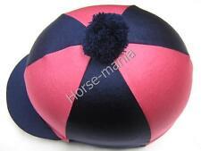 HY Blu Marino Rosa POM POM Equitazione Cappello seta Copertura per casco da  fant. 954418a885d7