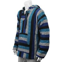 New Mexican Poncho Baja Hoodie Surfer Drug Rug Pullover Made in Mex Unisex Blue