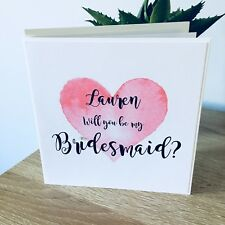 Will You be my Bridesmaid or Maid of Honour Card Pink Heart Design Personalised