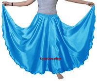 Dodger Blue 360 Full Circle Satin Skirt Long Swing Belly Dance Costumes Röcke
