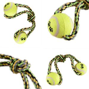 DOG ROPE Chew Tough Strong Tug War Play Toy Tennis Ball Game Pet Cotton Teething