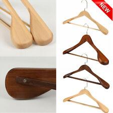 High-Grade Wide Shoulder Wooden Coat Hangers - Solid Wood Suit Hanger, 2 Pack