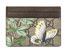Gucci Signature Tian Bird Flower GG Card Case wallet Italy Signature Brown New 1