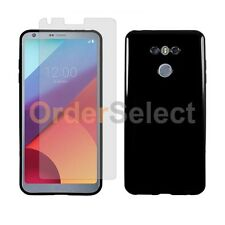 NEW Soft Rubber Gel Case+LCD HD Screen Protector for Android Phone LG G6 Black