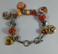 Silver Tone Charm Holder Bracelet With 15 Charm Beads Spacers Cat Theme