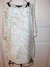 NWT~PRESTON&YORK~Mint&Khaki Animal Print Stretch Short Sleeves Blouse size M