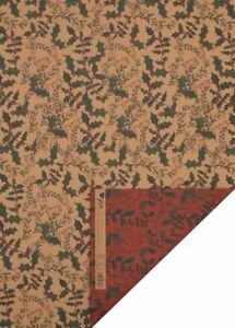 Glick Christmas Flat Wrapping Paper Holly Kraft