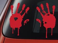 Blood Hand Prints - Red Vinyl Decal - Car, Window, Wall, Laptop Sticker