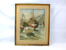 Zeebrugge Großes Bild Ölbild Maritim 1962 signiert Deval  NK-032