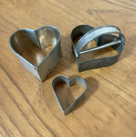 Vtg Metal Tin Hearts (3) Cookie Biscuit Candy Cutters Molds Primitive Soldered