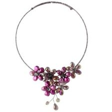 NEW Dyed Purple Cultured Freshwater Pearl AB Glass Bead Flower Cluster Necklace