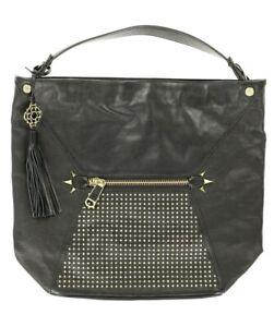 RAFE Studded Large Leather Satchel Black 134629