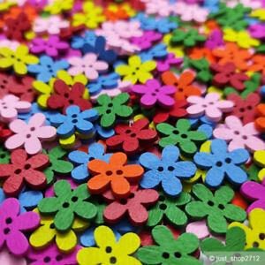 Holzknöpfe 14mm Holz Flower Knopf Nähen Basteln Kinderknöpfe Blume Blumen mix