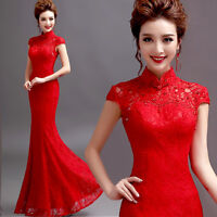 Red Lace Evening Prom Wedding Bridesmaid Dress Mermaid Ballgown Cheongsam CO61