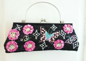 New Beautiful Butterfly & Floral Black-Pink Evening/Prom Handbag, Clasp top
