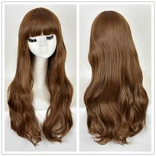 Fashion Women's Blunt Bangs Long Natural Wavy Hair Blonde Brown Wig
