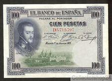 Spain 100 Pesetas 1925 Zf / Vg  pn D Serial 69c