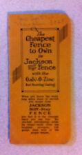 1930 Jackson Stiff-Stay Fence Advertisement Brochure/ Calender