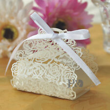 100PCS Ivory Wedding Gift Boxes With Ribbon & Rose Sweet Boxes Favour Box Bags