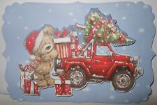 1 x  Ready made topper for card making -Christmas- Cute Teddy and car 2