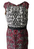 David Meister Women's sleeveless Sheath dress Print Black White Red Size 12