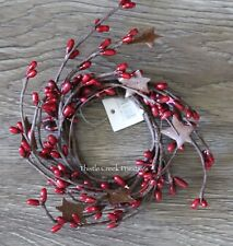 """2"""" Pip Berry Candle Ring with Rusty Stars - Burgundy"""