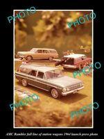 OLD LARGE HISTORIC PHOTO OF 1964 AMC RAMBLER STATION WAGONS LAUNCH PRESS PHOTO