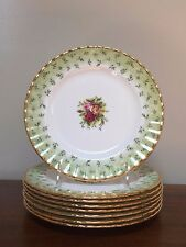 Royal Albert OLD COUNTRY ROSES GREEN BORDER Salad Plate ~ Set of 8