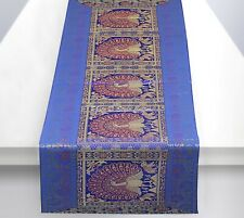 Ethnic Dining Table Runner Long Elegant Blue Brocade Peacock Kitchen Table Cloth
