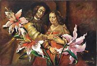 Chassard Marcel-René huile sur toile signée pour la fiancée juive de Rembrandt