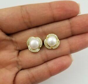 14K Yellow Gold Over Round White Pearl Diamond Stud Earrings Earrings