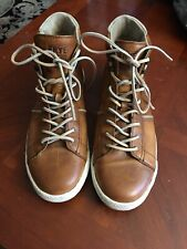 Frye Men's Brett High-Top Sneakers Size 10.5 Leather Cognac Antique Shoes