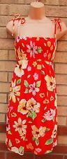 H&M STRAPPY RED YELLOW GREEN FLORAL TUNIC CAMI GYPSY SUMMER RARE DRESS 8 S