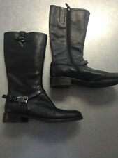 CUTE WOMENS ECCO BLACK LEATHER SIDE ZIPPER TALL BOOTS SIZE 10-10.5 EUR 41 NICE!