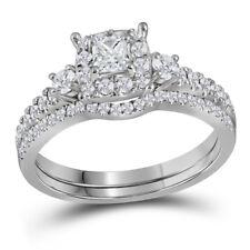 14k White Gold Princess Diamond Bridal Wedding Engagement Ring Band Set 7/8 Cttw