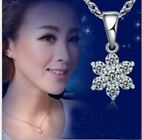 925 Sterling  Crystal Snowflake Necklace Pendant Chain