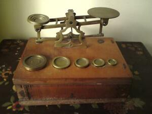 S. Mordan & Co London Brass Postal Scale with Weights on Wooden Drawer Base