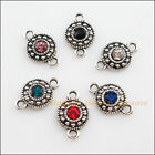 12 New Tibetan Silver Charms Mixed Crystal Round Pendants Connectors 11x18mm