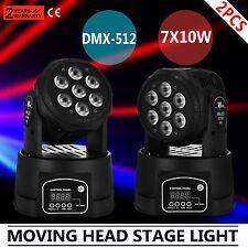 2Pcs RGBW 7x10W LED Moving Head Stage Par Light Show Effect Wash Color DJ Bar
