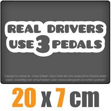 Real Drivers use 3 Pedals 20 x 7cm JDM Decal Sticker Auto Weiß Scheibenaufkleber