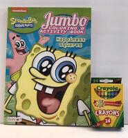New 2 Sponge Bob Square Pants Gift Set Coloring  & Activity Book + 24 Crayons