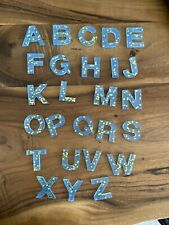 Resin Alphabet Number 0-9 Glow In The Dark Blue With Gold Stars