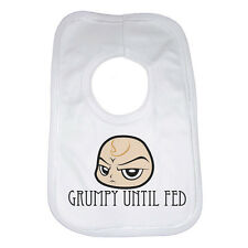 Grumpy Until Fed, New Personalised Baby Bib - White