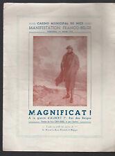 Magnificat King Albert 1 of Belgium March 1935 Program Casino of Nice