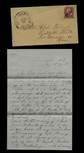 1850's Summerfield, Michgian Cover & MOURNING LETTER, Gold Mining to Connecticut