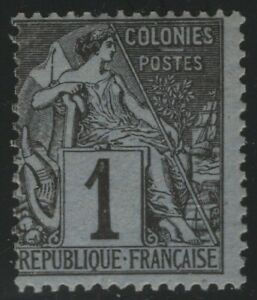 French Colonies 1881 1c Black on Blue Commerce Sc# 46 NH