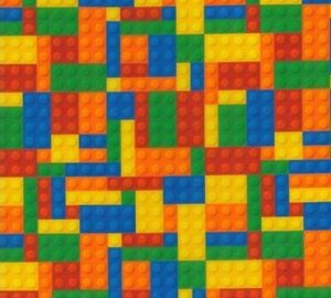 "Kids Lego Theme Building Block 100% Cotton Fabric 60"" Wide"